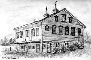 barn with metal cupolas sketch