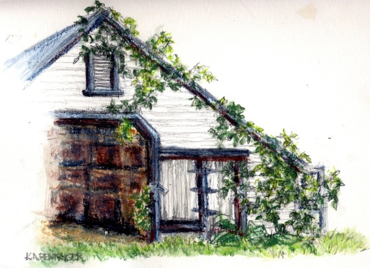 wagon shed with vines